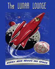 Spaceship Travel Space Lunar Lounge Space 16X20 Vintage Poster Repro FREE S/H