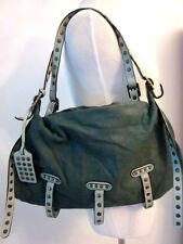 Authentic Be&D Teal Fine Leather Studded Satchel Bag