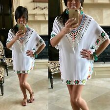 LOS CABOS Ladies Boho White Colorful Crochet Block Tunic or Beach Cover Up S-XL