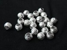50pcs 8mm Silver Plated Copper Big Hole Stardust Spacer Beads Jewelry Findings