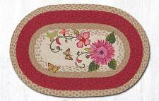 BRAIDED HAND STENCILED OVAL PATCH RUG By EARTH RUGS--PETAL PARTY
