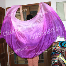 + CARRY BAG BELLY DANCE 100% SILK VEILS three color purple to light purple