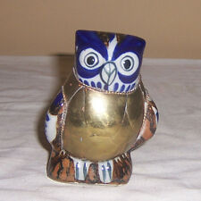 ~~ COPPER & CERAMIC OWL ~~  BLUE & WHITE POTTERY OWL COVERED IN COPPER