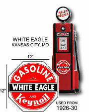 "12"" 1926-30 WHITE EAGLE GASOLINE DECAL OIL CAN / GAS PUMP / LUBSTER"