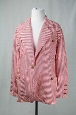 Chanel Boutique Red and White Stripe Blazer Jacket Gold Logo Buttons Size 36