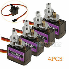 4X MG90S Metal Gear Micro Servo High Speed For Helicopter Car Robot Machine Arms