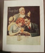 VINTAGE 1950s Original NORMAN ROCKWELL ORANGE CRUSH SODA PRINT Advertisement Art
