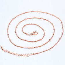 24 inch 1.2mm Snake Chain Necklace Rose/Gold/Silver/Black Men's Fashion Jewelry