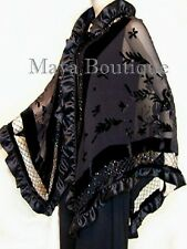 Black Shawl Scarf Wrap Silk Beaded Burnout Velvet Triangle Ruffles Maya Matazaro