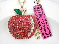 Betsey Johnson  Jewelry crystal rhinestone red apple pendant necklace # F386A