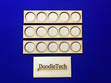 Laser cut MDF set of 3 (5x1) MOVEMENT TRAYS for 25mm round Bases LOTR / 40k