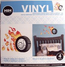 Hip In A Hurry Vinyl Paint Rub-ons, Tires and Flames, Wall decor