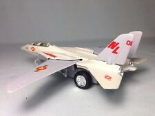 "F-14 Tomcat Aircraft U.S. Navy Military, 7"" Diecast Pull Back To Go Toys Beige"