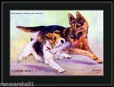Print Wire Hair Fox Terrier Dog German Shepherd Dogs Puppy Puppies Art Poster