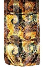 SCARF Brown & Yellow & Green Boteh Indian Print INTRICATE PAISLEY DESIGN