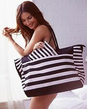 Victoria's Secret Beach Bag Weekender Black Pink Large Tote Bag NWT