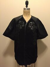 Alexander Wang for H&M Men's Black Suede & Leather Baseball Shirt Jacket Sz M NW