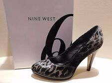 NINE WEST Nadiar Gray Black Animal Print Pumps Stacked High Heals LNC Sz 6 M Box