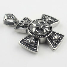 Large Vintage Fleur De Lis Celtic Cross 316L Stainless Steel Mens Biker Pendant