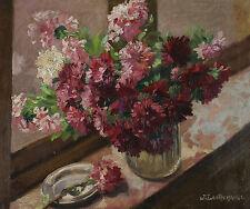 Signiert J. L. Antremange - Stillleben mit Blumen auf einem Fensterbrett