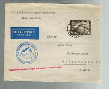 1929 Germany Graf Zeppelin LZ 127 Cover to USA Flight Delayed 3 months # C 37