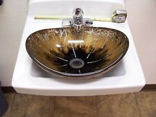 Gold Ebony Bronze Art Diamond Thick Oval Bowl Glass Wash Sink Elite Model 1415