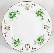 LIMOGES DINNER PLATES ANTIQUE SET 6 HAND PAINTED AHRENFELDT GOLD WHITE FLOWERS