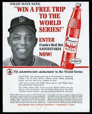 1967 Willie Mays photo Frank's Louisiana Red Hot Sauce vintage print ad