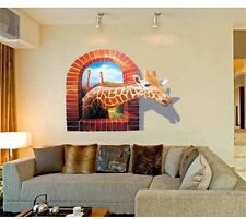 Huge Window 3D Giraffe Vew Wall Stickers art Mural Decal Removable Home Decor