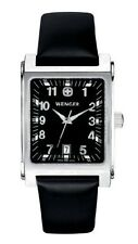 newstuffdaily: NIB WENGER Escort Black Dial Leather Men's Swiss Watch etm