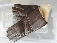 brown ladies women 100% genuine real leather sheepskin gloves mittens