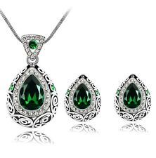 Filigree Tear Drop Pendant Necklace and Earrings Set  Emerald Green  Crystal