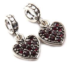 10x Purple Rhinestone Paved Vintage Silver Heart Jewellery Loop Beads Pendant BS