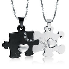 Couples Lovers Valentine's Stainless Steel Heart Puzzle Pendant Chain Necklace