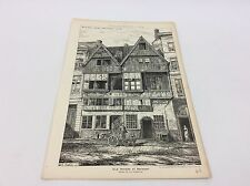 Old house at Antwerp - lithograph - 1884 the building news architect print