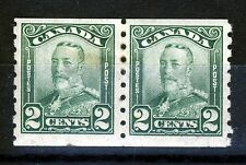 CANADA KG V 1928 2c. A PAIR of Green Coil Stamps ImperfxPerf 8  SG 287  MINT