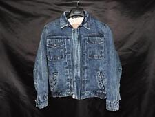 Vintage 90s Levi's L Woman Blue Jean Denim Jacket Sherpa Lined Coat Stonewashed