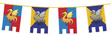 NEW 6M KNIGHTS AND DRAGONS MEDIEVAL PARTY DECORATION FLAGS PARTY CASTLE BUNTING