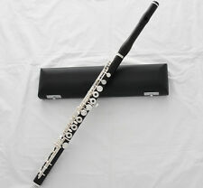 Professional Ebony Wooden Flute Silver Key B Foot European headjoint With Case