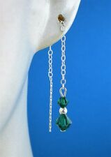 Sterling Silver 925 Using Green Swarovski Elements  Pull Through Drop Earrings