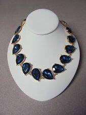 Teal Teardrop Shiny Gem Crystal Necklace, Adj Lgth, Gold & Blue, Ann Taylor, NWT
