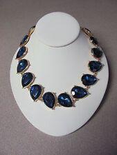 Teal Teardrop Shiny Gem Crystal Necklace, Adj Lgth, Gold & Blue, Ann Taylor, NWT