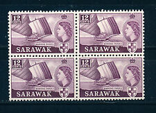 SARAWAK 1955-1957 DEFINITIVES SG194 12c (SHIP) BLOCK OF 4 MNH