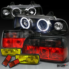 92-98 BMW E36 3-Series Black Halo Pro Headlight+Red/Smoke Tail Lamp+Fog Lamp