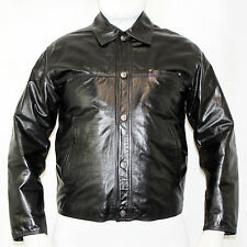 VERSACE *Rare Vintage* Mens Designer Black Luxury Leather Biker Jacket 42 Large