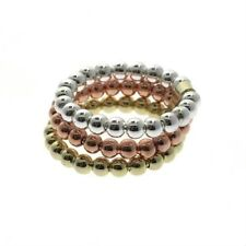 925 Silver Tri Color Beaded Three Ring Set Size 7