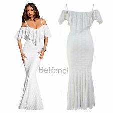 CLASSY WHITE LACE OFF SHOULDER MERMAID DRESS STRAP RUFFLED MAXI DRESS 12 14 UK