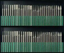 "50pc DIAMOND BURR Bit Set for Rotary Tools 1/8"" 150 Grit + Organizer Case"