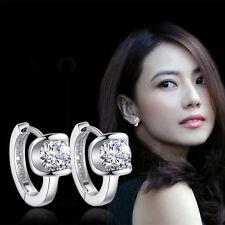 Fashion Solid 925 Sterling Silver Zircon Crystal Angel's Kiss Ear Hoop Earrings