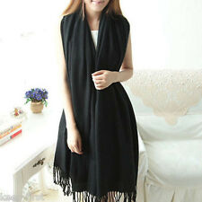 NEW Women Long Cashmere Winter Wool Blend Soft Warm Scarf Wrap Shawl Black Scarf